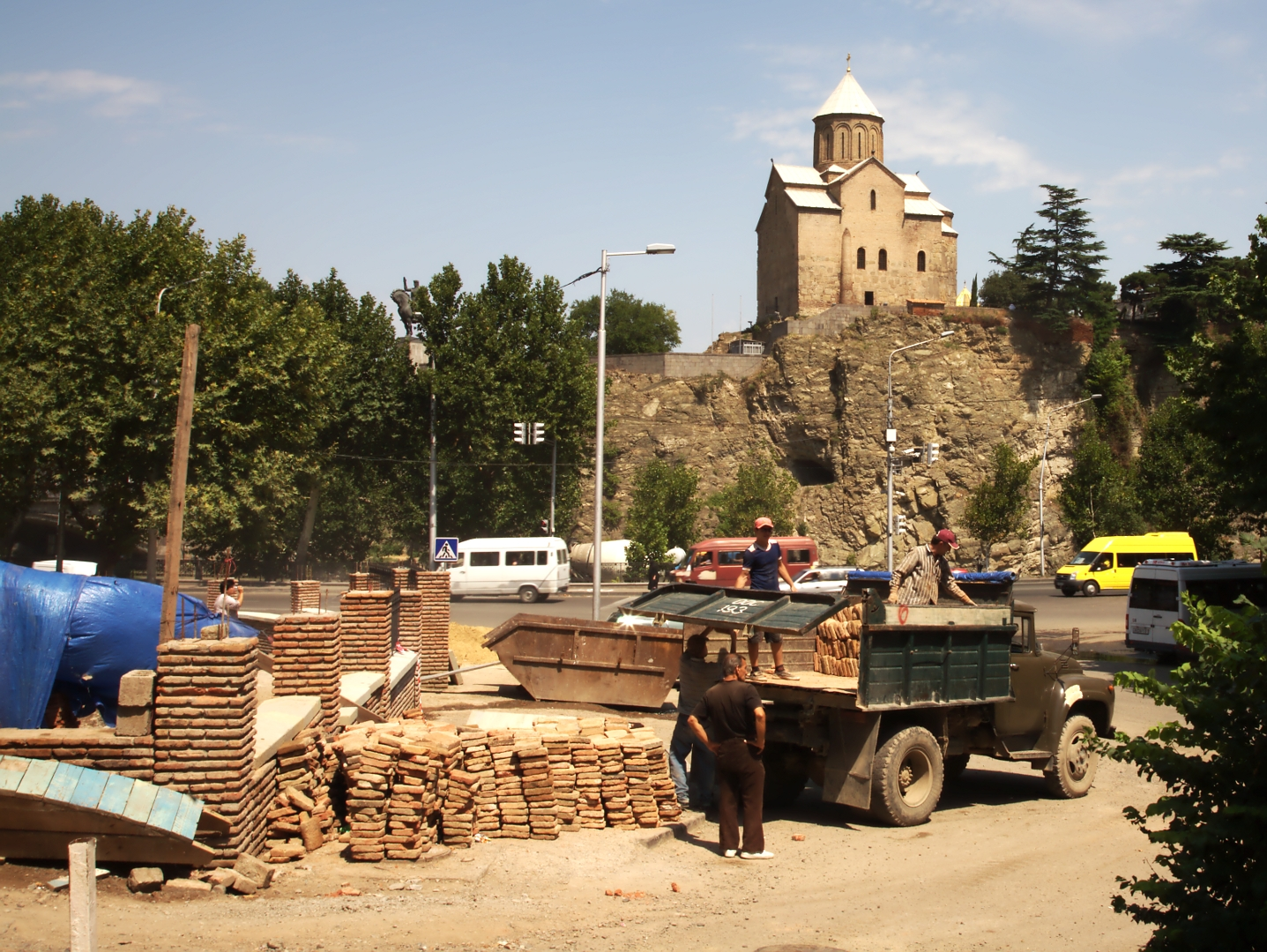 Construction workers in Tbilisi