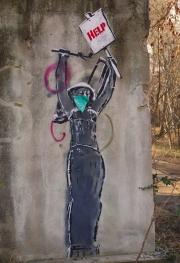 Guerilla gardening woman street art