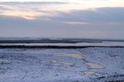 zonsopgang in de velden achter de waddendijk