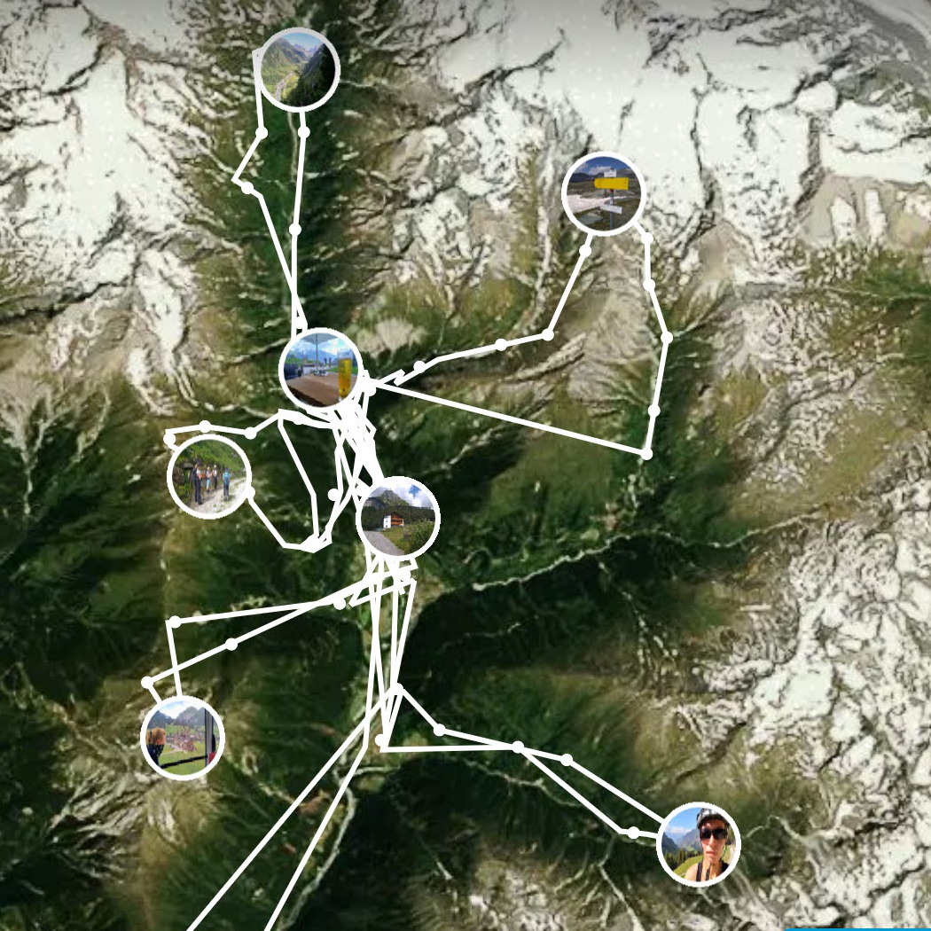 satellietfoto met gemaakte trips